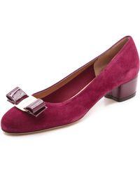 Ferragamo Vara Bow Low Heels - Lyst