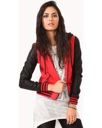 Forever 21 Hooded Varsity Jacket - Red