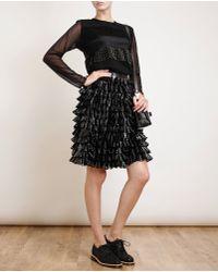 Meadham Kirchhoff Olympia Lasercut Latex Skirt - Black