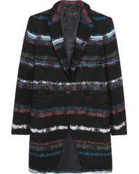 Rag & Bone Striped Tweed Coat - Black