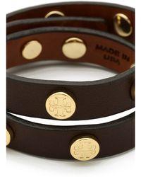 Tory Burch Double Wrap Logo Leather Bracelet - Brown - Lyst