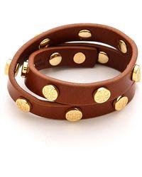 Tory Burch Double Wrap Logo Bracelet - Cuoio - Lyst