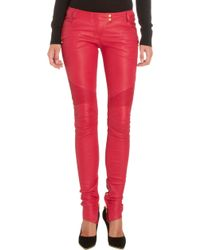 Balmain Leather Moto Pants - Lyst