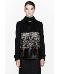 Burberry Prorsum Black Wool and Calf-hair Ombre Coat - Lyst