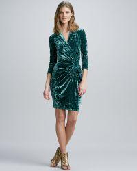 Catherine Malandrino Fauxwrap Crushed Velvet Dress - Lyst