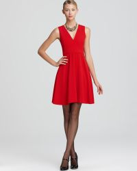 DKNY Crepe Sleeveless V Neck Dress - Red