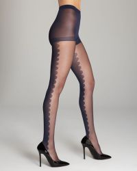 Kate Spade Scallop Front Tights - Blue