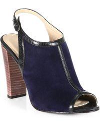 L'Agence Suede Leather Slingback Sandals - Blue