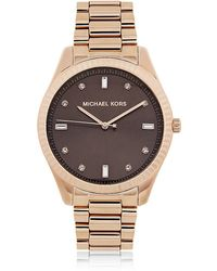 Michael Kors Rose Tone Felicity Three Hand Glitz Watch - Lyst