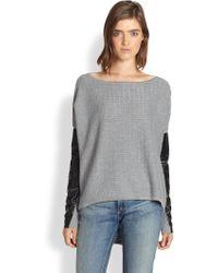 Pjk Patterson J. Kincaid Leathertrimmed Cotton Cashmere Sweater - Gray