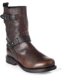 Rag & Bone Distressed Leather Midcalf Motorcycle Boots - Brown