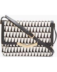 Time's Arrow - Black and White Logo Printed Calf_hair Affline Shoulder Bag - Lyst