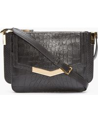 Time's Arrow - Black Croc_embossed Mini Trilogy Shoulder Bag - Lyst