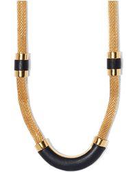 Vince Camuto Gold Black Tubular Necklace - Lyst