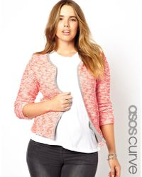 Asos Curve Blazer in Fluro Boucle - Lyst