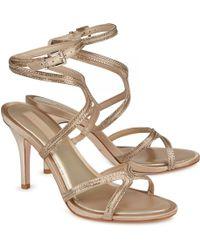 BCBGMAXAZRIA - Primp Metallic Satin Sandals - Lyst