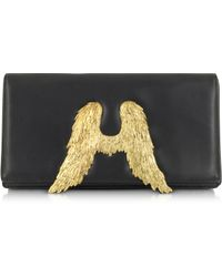 Bernard Delettrez Black Nappa Leather Clutch W/Angel Wings - Lyst