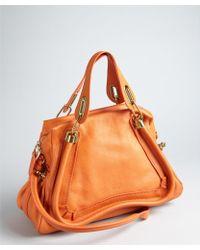 Chloé Burnt Orange Pebbled Leather Paraty Medium Top Handle Bag - Lyst
