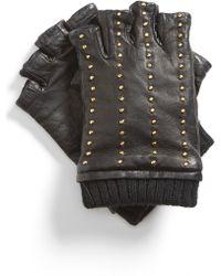 MICHAEL Michael Kors Studded Fingerless Gloves black - Lyst
