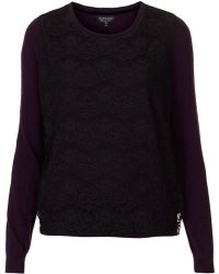 Topshop Knitted Lace Front Jumper - Lyst
