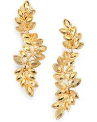 Kenneth Jay Lane Faceted Leaf Drop Earrings gold - Lyst