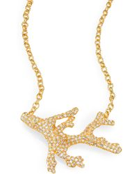 Kenneth Jay Lane Sparkle Branch Necklace gold - Lyst