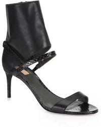 Reed Krakoff Runway Snakeskin Leather Anklecuff Sandals - Black