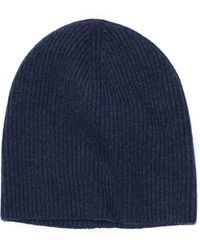 Vince Cashmere Ribbed Beanie - Blue
