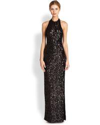 Halston Heritage Sequined Halter Gown - Lyst