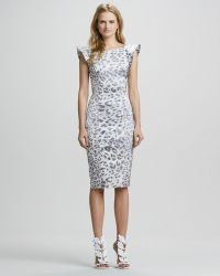 Alexis Leopard-Print Dress With Flared Capped Sleeves - Lyst