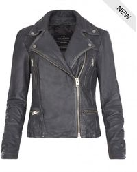 AllSaints Cargo Leather Biker Jacket - Lyst