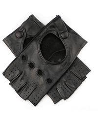 Black.co.uk - Ladies Black Leather Fingerless Gloves - Lyst
