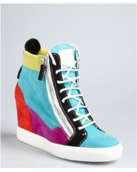 Giuseppe Zanotti Turquoise Colorblock Suede Lorenz Wedge Sneakers - Lyst