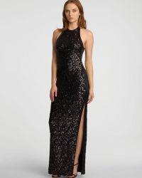 Halston Heritage Sleeveless Halter Neck Sequin Jersey Gown - Lyst