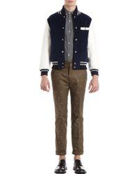 Thom Grey Leather Sleeve Letterman Corduroy Jacket - Lyst