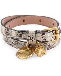 Alexander McQueen | Snakeskin-embossed Leather Skull Wrap Bracelet | Lyst
