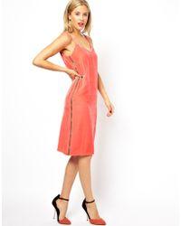 Asos Silk Velvet Cami Midi Dress - Lyst
