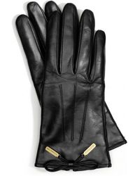 COACH Leather Bow Gloves - Black
