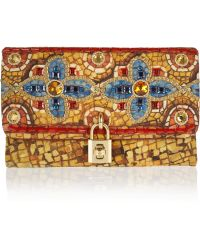 Dolce & Gabbana Miss Dolce Embellished Brocade Clutch - Lyst