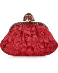 Dolce & Gabbana Miss Dea Small Ayerstrimmed Lace and Velvet Clutch - Lyst