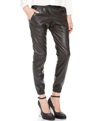 Heidi Merrick - Faux Leather Joggers - Lyst