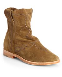 Joie Palma Studded Suede Ankle Boots - Lyst