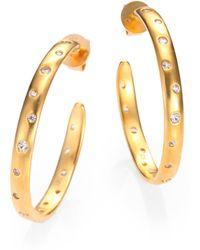 Mija - White Sapphire Constellation Hoop Earrings/1.3 - Lyst