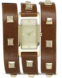 Vince Camuto Triple Wrap Studded Watch 19mm - Brown