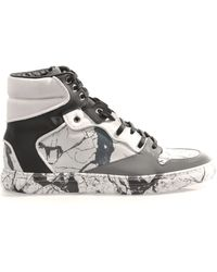 Balenciaga Marbled Leather Hightop Trainers - Lyst
