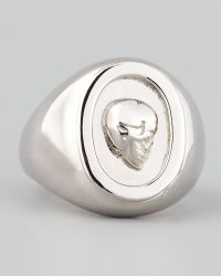 Eddie Borgo Skull Cameo Ring Silver - Metallic