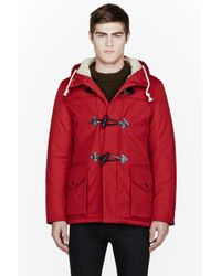 Nanamica Red Hooded Duffle Coat in Red for Men | Lyst