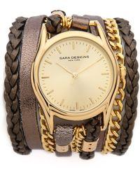 Sara Designs - Metallic Leather Chain Wrap Watch - Lyst