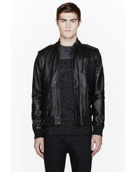 Surface To Air - Black Nappa Leather Blade Bomber - Lyst