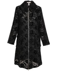 Erdem Kayleigh Lace, Velvet And Shearling Coat - Lyst